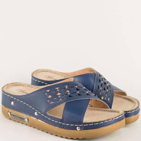 Комфортни дамски чехли на анатомична платформа в син цвят 10678s