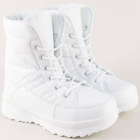 Дамски апрески- Athletic в бял цвят на комфортна платформа 1069-40b