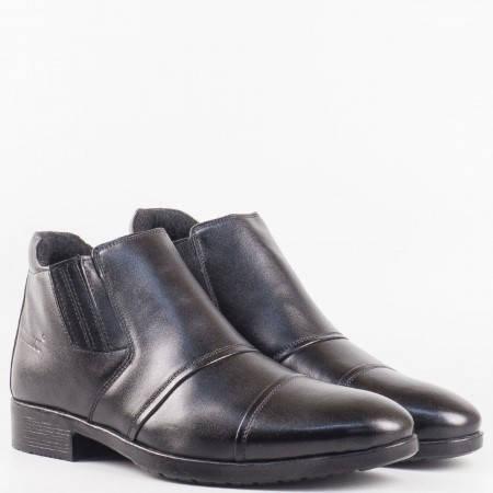 Мъжки комфортни боти с елегантна визия от висококачествена естествена кожа в черен цвят 107ch