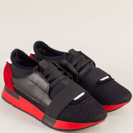 Модерни дамски маратонки на равно ходило в черен и червен цвят 1082chchv