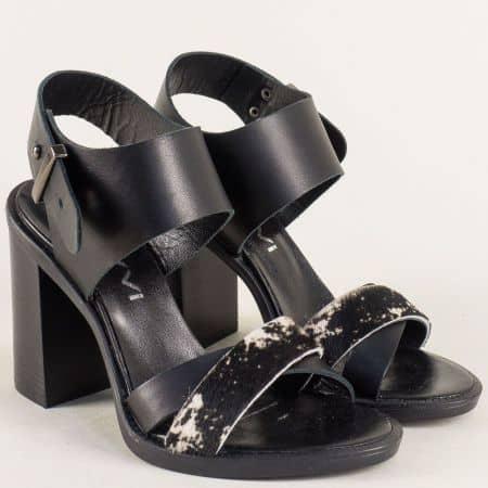 Черни дамски сандали на висок ток с кожена стелка- Navvi  10857ch