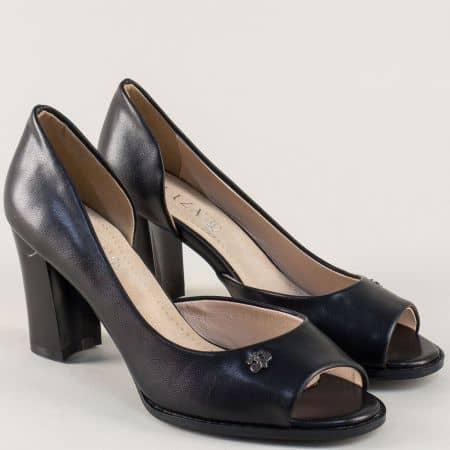 Черни дамски обувки с отворени пръсти и кожена стелка 1101091ch