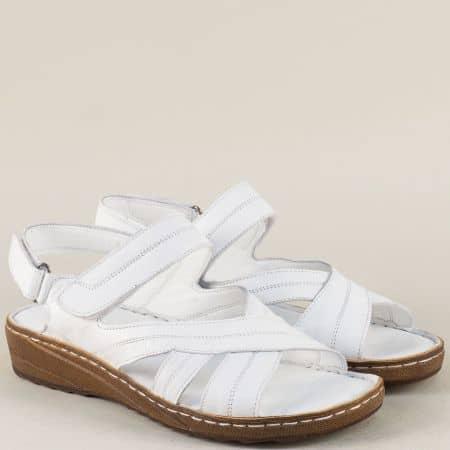 Шити дамски сандали от бяла естествена кожа с две лепки 110345b