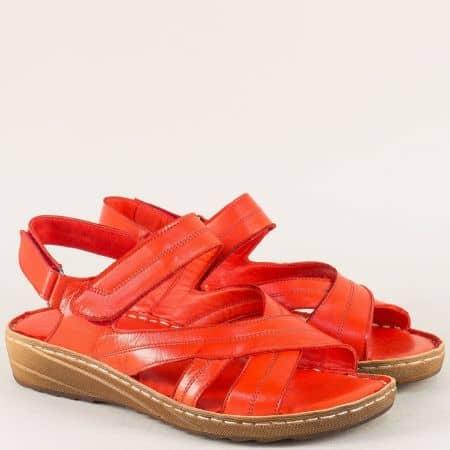 Червени дамски сандали от естествена кожа на шито ходило 110345chv