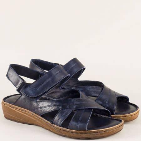 Тъмно сини дамски сандали с кожена стелка и две лепки 110345ss