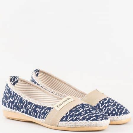 Дамски текстилни обувки с ластик, тип еспадрила в тъмно синьо и бежово 110516ts