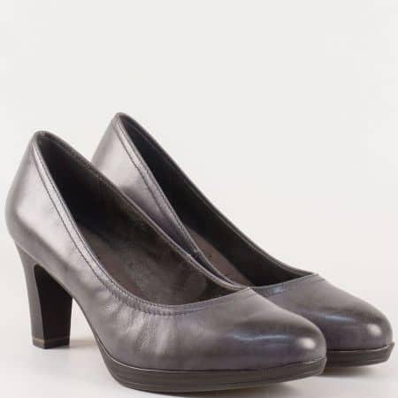 Кожени дамски обувки Tamaris в сив цвят на висок ток  1122410sv