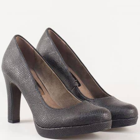 Дамски обувки със змийски принт- Tamaris в черен цвят на висок ток и стелка с  вградена Memory пяна 1122426zch