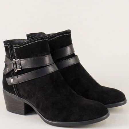 Стилни дамски боти Tamaris в черен цвят от естествена кожа и набук 1125010vch