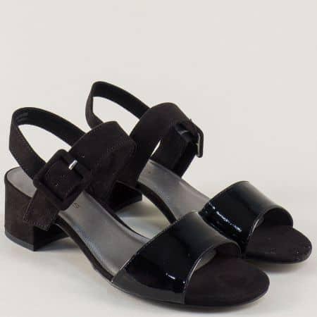 Дамски сандали на среден ток в черен цвят- Tamaris 1128211lch