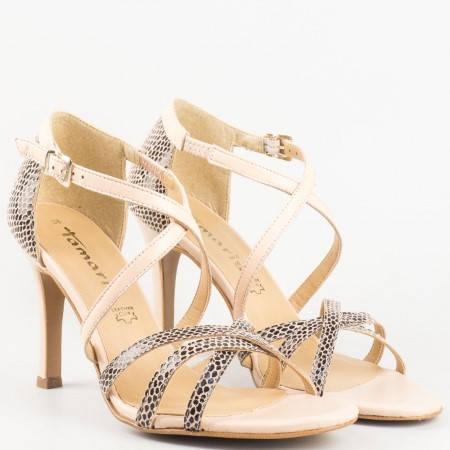 Дамски атрактивни сандали на висок ток с тигров принт от висококачествена естествена кожа на немската марка Tamaris в бежов цвят 1128339bj