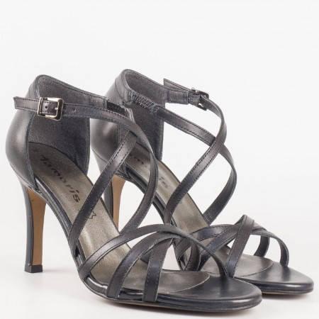 Елегантни дамски сандали на висок ток от черна естествена кожа Tamaris 1128339ch