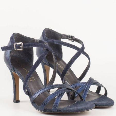 Елегантни дамски сандали на висок ток от естествена кожа и велур в син цвят на немски ат производител Tamaris 1128339s