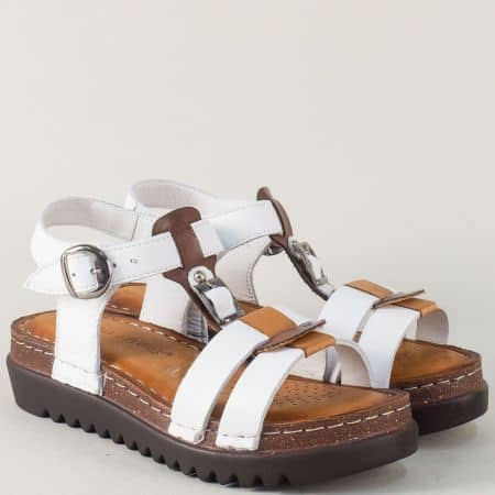 Кожени дамски сандали на платформа в бяло и кафяво 1154bk