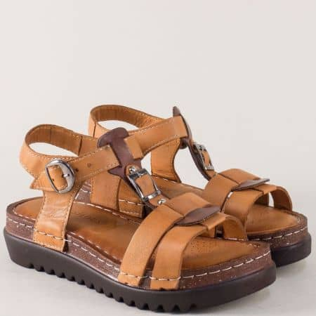 Дамски сандали на платформа от кафява естествена кожа 1154k