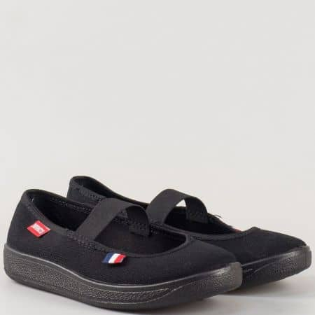Детски спортни гуменки с ластична лента на комфортно ходило на български производител в черен цвят 115ch