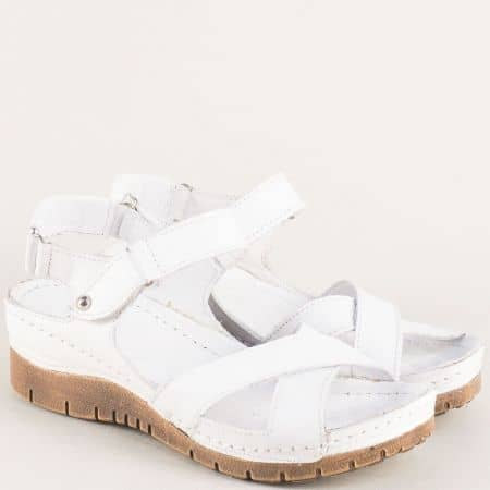 Бели дамски сандали на платформа с ластик и лепка 116ob