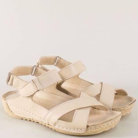 Бежови дамски сандали от естествена кожа на равно ходило 116bj