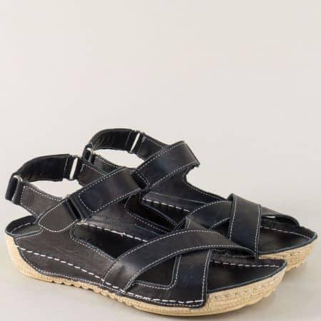 Черни дамски сандали със стелка от естествена кожа 116ch