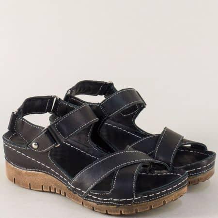 Черни дамски сандали с ластик, лепка и кожена стелка 116och