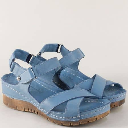 Сини дамски сандали от естествена кожа на платформа 116os