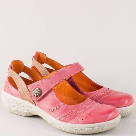 Розови дамски обувки от естествена кожа на платформа 11837chv