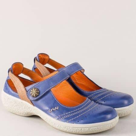 Кожени дамски обувки на платформа в син цвят с лепка 11837s