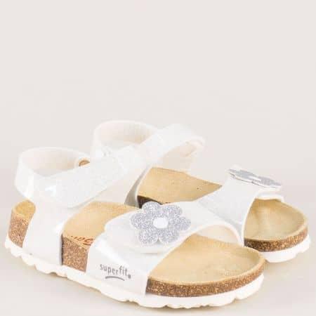 Бели детски сндали с кожена анатомична стелка- Super Fit 11850-35b