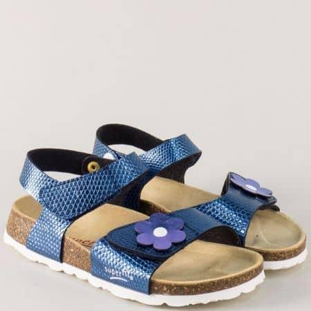 Анатомични детски сандали в син цвят с две лепки 11880-35s
