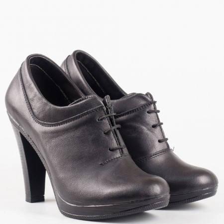 Дамски ежедневни обувки с изчистена визия и връзки на висок ток от естествена кожа на български производител 1197976ch