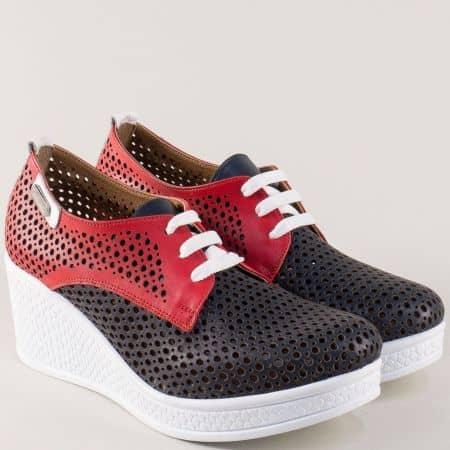 Дамски обувки на платформа в бяло, червено и черно 120143tomi