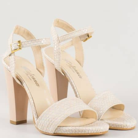 Дамски стилни сандали на висок стабилен ток със змийски принт в бежово 1210zbj
