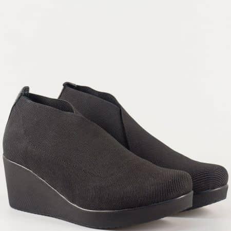 Дамски обувки за всеки ден с еластична сая и кожена стелка в черно 1212sch