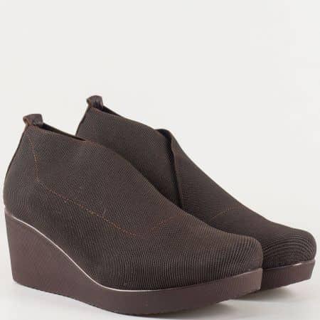 Дамски ежедневни обувки с еластична сая и кожена стелка в кафяв цвят 1212sk