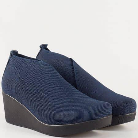 Дамски ежедневни обувки с изчистена визия и естествена кожена стелка в син цвят 1212ss
