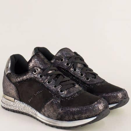Дамски маратонки на удобно ходило в черен цвят 121730ch