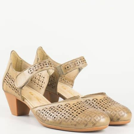 Дамки перфорирани обувки в кафяво на среден ток с лепка- Nota Bene от естествена кожа изцяло  12200917k