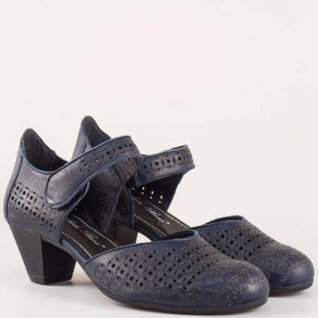 Комфортни дамски обувки на среден ток от синя естествена кожа с лазерна перфорация на утвърденият български производител Nota Bene  12200917s