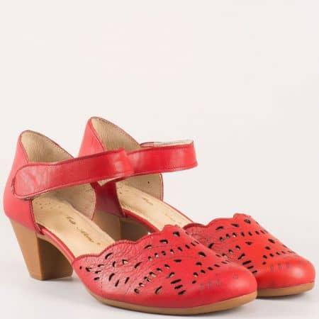 Стилни червени дамски обувки за пролетта и лятото на среден ток 12200995chv