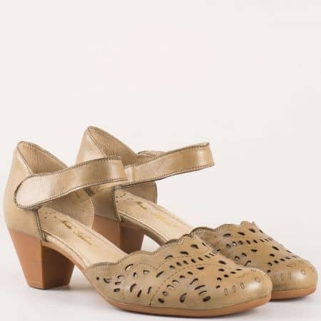 Перфорирани дамски обувки с лепка на среден ток от естествена кожа изцяло- Nota Bene в кафяво  12200995k
