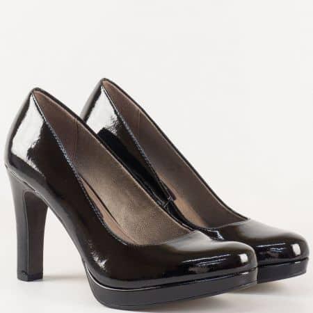 Стилни дамски обувки в черен цвят- Tamaris на висок ток и стелка с  вградена Memory пяна 1122426lch