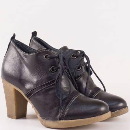 Български дамски обувки в черен цвят на висок ток с връзки от естествена кожа изцяло 1225ch