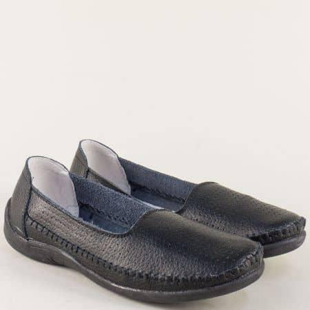 Равни дамски обувки в черен цвят с кожена стелка 12271ch