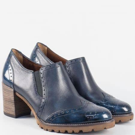 Актуални дамски обувки на висок ток с Anti-shock система- Tamaris в син цвят 124400s