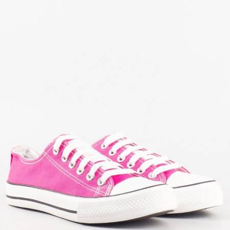 Дамски спортни кецове с връзки на равно ходило в розов цвят 1250-40rz