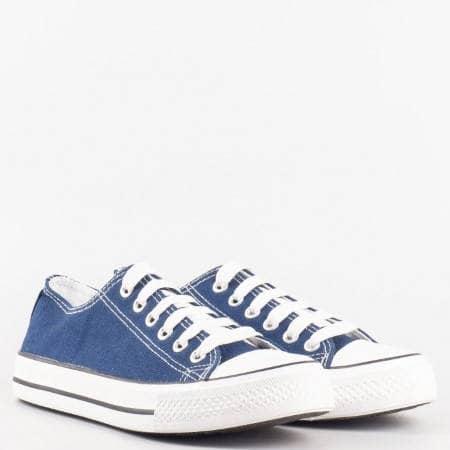 Дамски комфортни кецове на равно ходило в син цвят 1250-40s