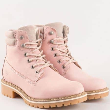Дамски розови боти- Tamaris с грайферно, каучуково, шито ходило от естествен набук  125242nrz
