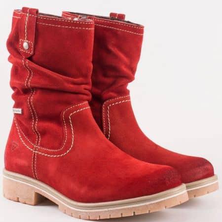 Дамски червени боти от естествен велур и каучук- Tamaris 125471vchv