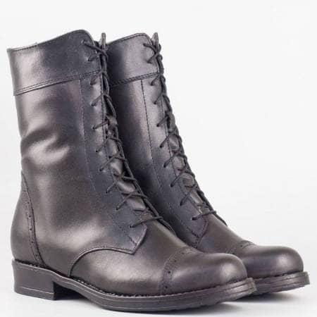 Дамски ежедневни боти произведени от естествена кожа на известен български производител в черен цвят 125ch