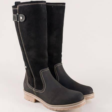 Черни дамски ботуши от естествен велур, набук и каучук 126605vch